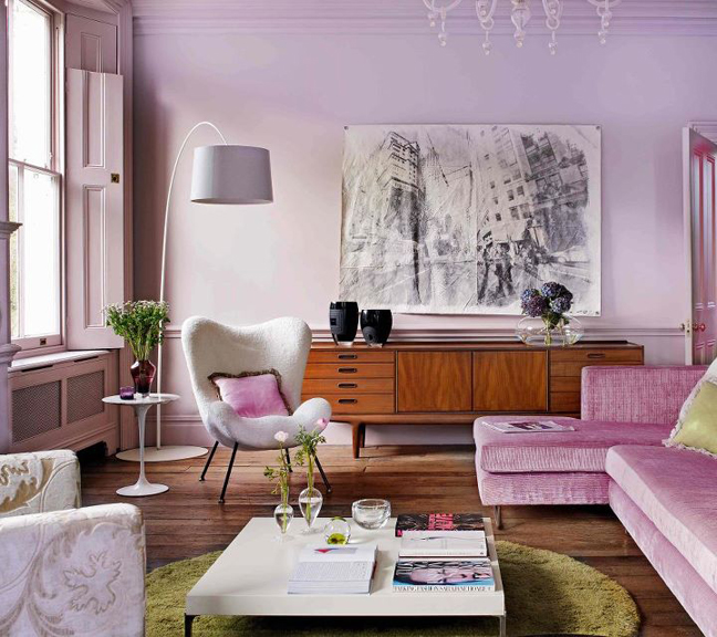 The lilac living room cozy stylish chic for Mauve living room decor