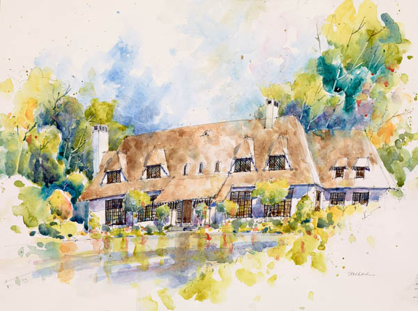 Watercolor rendering of the 2014 Pasadena Showcase House by Joseph Stoddard