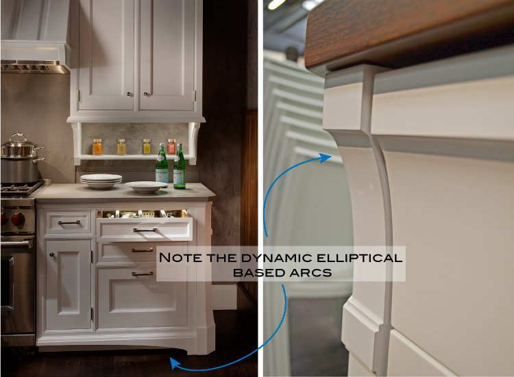 Luxury cabinetry - Elliptical based arcs - Ruskin by Rutt Cabinetry
